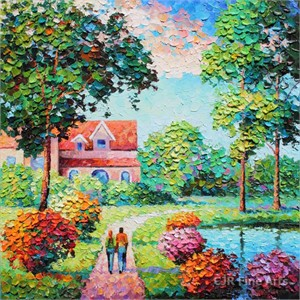 "Alexander Antanenka Hand Signed Limited Edition Hand Embellished Canvas Giclee:""Love Our Home"""