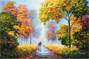 """Alexander Antanenka Hand Signed Limited Edition Hand Embellished Canvas Giclee:""""Strolling Hand in Hand"""""""