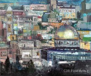 """Alex Zwarenstein Hand Signed Limited Edition Canvas Giclee:""""Jerusalem at Dusk"""""""