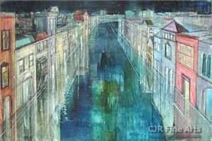 "Alex Zwarenstein Hand Signed Limited Edition Canvas Giclee:""Long Canal, Venice"""