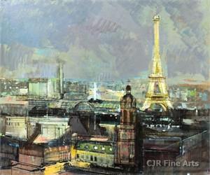 """Alex Zwarenstein Hand Signed Limited Edition Canvas Giclee:""""Paris by Night"""""""