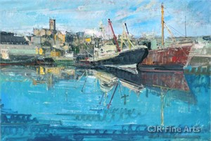 """Alex Zwarenstein Hand Signed Limited Edition Canvas Giclee:""""Penzance Harbor"""""""