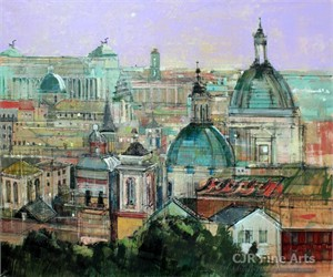 "Alex Zwarenstein Hand Signed Limited Edition Canvas Giclee:""Rome Rooftops"""