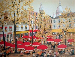 "Fanch Ledan Hand Signed and Numbered Limited Edition Paper Lithograph:""Au Vieux Montmartre"""