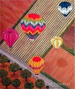 "Fanch Ledan Hand Signed and Numbered Limited Edition Paper Lithograph:""Ballooning Over Napa"""