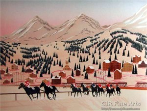 "Fanch Ledan Hand Signed and Numbered Limited Edition Paper Lithograph:""Horse Racing in St. Moritz"""