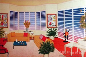 "Fanch Ledan Hand Signed and Numbered Limited Edition Paper Lithograph:""Interior Leger"""