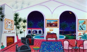 """Fanch Ledan Hand Signed and Numbered Limited Edition Paper Serigraph:""""Interior with Salvador Dali"""""""