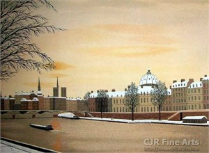 "Fanch Ledan Hand Signed and Numbered Limited Edition Paper Lithograph:""La Seine Enneigee"""