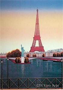 "Fanch Ledan Hand Signed and Numbered Limited Edition Paper Lithograph:""La Statue de la Liberte"""