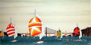 "Fanch Ledan Hand Signed and Numbered Limited Edition Paper Lithograph:""Spinnakers under Golden Gate Bridge"""