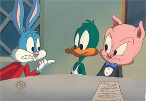 "Original Hand Paint Production Art Animation Cel: ""Buster, Plucky, Hampton-Life In The Nineties"""