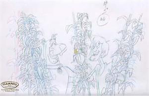 "Original Hand Paint Production Art Animation Cel: ""Scooby, Shaggy-Farmed and Dangerous"""