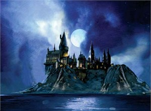 "Jim Salvati Limited Edition Fine Art Giclee Prints on Paper and Canvas :""Full Moon at Hogwarts"""
