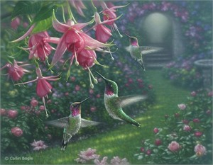 "Collin Bogle Handsigned and Numbered Limited Edition Print and Canvas:""Hummingbird Haven"""
