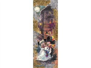 "James Coleman Limited Edition Mixed-Media Gold and Silver Applique on Canvas Giclee:""Reflections of Love -Mickey & Minnie"""