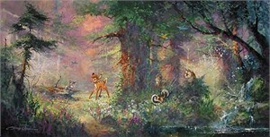"James Coleman Limited Edition Giclee on Canvas :""Bambi - Springtime in the Meadows"""