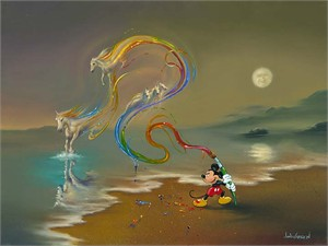 "Jim Warren Signed and Numbered Giclée on Canvas: ""Mickey the Artist"""