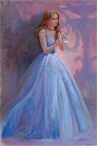 "Lisa Keene Signed and Numbered Hand-Textured Giclée on Canvas: ""Glass Slipper"""