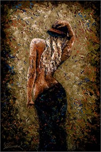 "Trevor Mezak Limited Edition Hand-Embelllished Palette Knife Textured Canvas Giclee: ""Fedora Beauty"""