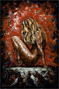 "Trevor Mezak Limited Edition Hand-Embelllished Palette Knife Textured Canvas Giclee: ""One in a Million"""