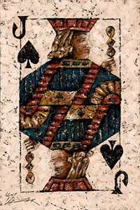 "Trevor Mezak Limited Edition Hand-Embelllished Palette Knife Textured Canvas Giclee: ""Jack of Spades"""