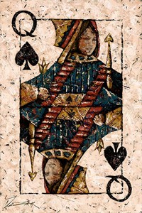 "Trevor Mezak Limited Edition Hand-Embelllished Palette Knife Textured Canvas Giclee: ""Queen of Spades"""