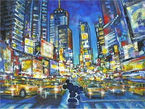 """Stephen Fishwick Signed and Numbered Hand Embellished Giclée on Canvas:""""You, Me and the City - Mickey Mouse"""""""