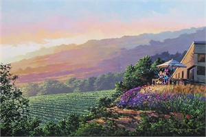 """Rodel Gonzalez Signed and Numbered Giclée on Canvas: """"Together at the Vineyard"""""""