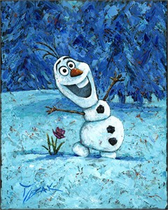 "Trevor Mezak Signed and Numbered Giclée on Pallet Knife-Textured Canvas : ""Olaf - Frozen"""