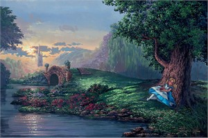 "Rodel Gonzalez Hand-Textured Limited Edition  Giclée on Canvas: ""Dreaming of Wonderland"""