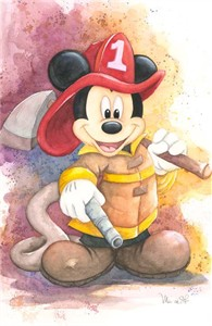 """Michelle St. Laurent Signed and Numbered Hand-Textured Giclée on Canvas: """"Fireman Mickey"""""""