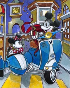 "Amy Lynn Hand Embellished Limited Edition Textured Canvas:""Sidecar Adventures"""