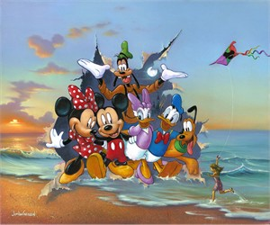 "Jim Warren Hand-Signed and Numbered Limited Edition Hand-Embellished Giclée on Canvas:""Mickey and the Gang's Grand Entrance"""