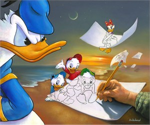 """Jim Warren Hand-Signed and Numbered Limited Edition Hand-Embellished Giclée on Canvas:""""Off the Page"""""""