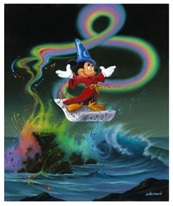 """Jim Warren Signed and Numbered Limited Edition Hand-Embellished Giclée on Canvas:""""Mickey Making Magic"""""""