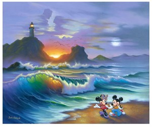 "Jim Warren Signed and Numbered Limited Edition Hand-Embellished Giclée on Canvas:""Mickey Proposes to Minnie"""