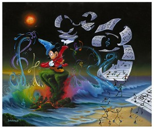 "Jim Warren Signed and Numbered Limited Edition Hand-Embellished Giclée on Canvas:""Mickey the Composer"""
