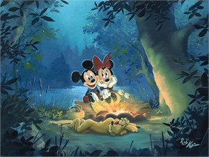 "Rob Kaz Signed and Numbered Limited Edition Hand-Embellished Giclée on Canvas:""Family Camp Out"""