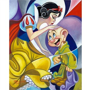 "Tim Rogerson Signed and Numbered Limited Edition Hand-Embellished Giclée on Canvas:""A Special Kiss - Snow White"""