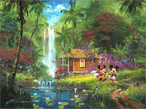 "James Coleman Signed and Numbered Limited Edition Hand-Embellished Giclée on Canvas:""Warm Aloha"""