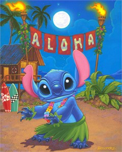 "Manuel Hernandez Signed and Numbered Limited Edition Giclée on Canvas:""Hula Stitch"""