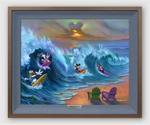 "Disney Framed Limited Edition Canvas Giclee:""Surfing with Friends"" by Jim Warren"