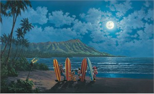 "Rodel Gonzalez Signed and Numbered Limited Edition Hand-Embellished Giclée on Canvas:""Moonlight Surf Crew"""