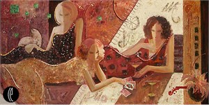 """Sabzi Limited Edition Embellished Giclee on Canvas :""""Magic in the Summer Night"""""""