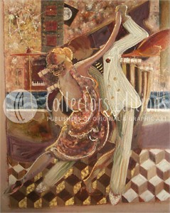 "Sabzi Limited Edition Embellished Serigraph on Canvas :""Tango II """