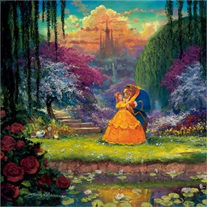 "James Coleman Signed and Numbered Limited Edition Hand-Embellished Giclée on Canvas:""Garden Waltz"""