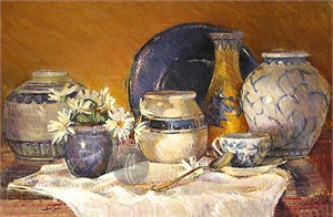 "Saia Limited Edition Giclee on Canvas :""Crockery """