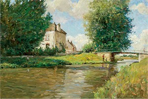 "Wren Limited Edition Embellished Giclee on Canvas :""Canals of Burgundy """