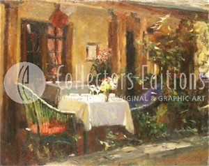 """Wren Limited Edition Hand  Embellished Artist Proof  Giclee on Canvas : """"Carmel Cafe """""""